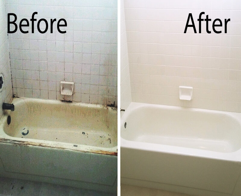 A before & after picture of a Mesa  bathtub refinished by our team
